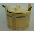 Шайка двуручная с крышкой и пластиковой вставкой (25л) кедр - 1шт